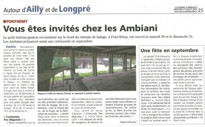 Les Ambiani dans le Journal d'Abbeville 2016